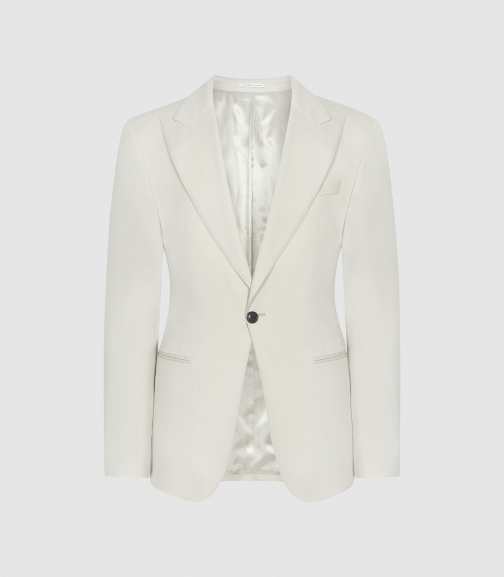 Reiss Casa - Wool Slim Fit Ivory, Mens, Size 36 Blazer