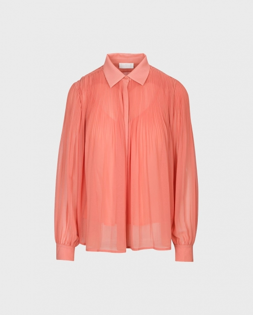 7 For All Mankind Release Pleat Collared Coral Shirt