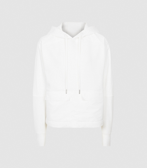 Reiss Mercy - Fabric Mix White, Womens, Size XS Hoodie
