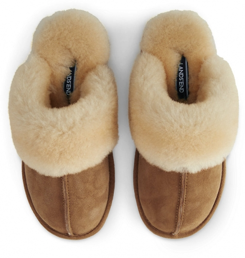 Lands' End Women's Suede Leather Shearling Fur Scuff - Lands' End - Brown - 6 Slippers