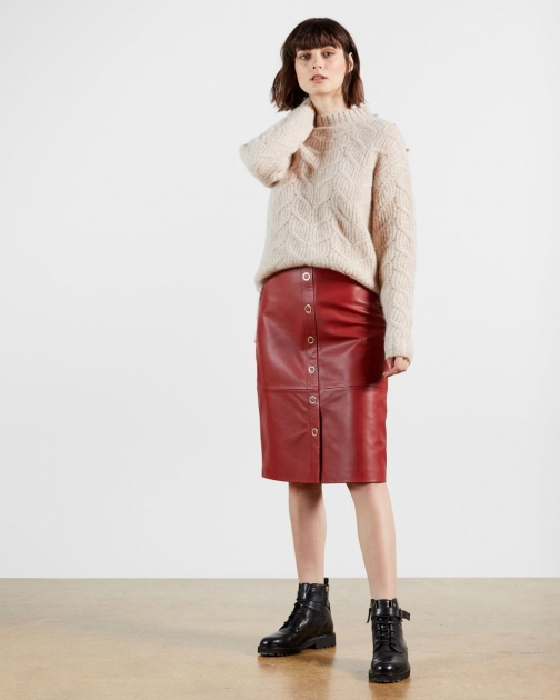 Ted Baker Leather Button Front Pencil Skirt