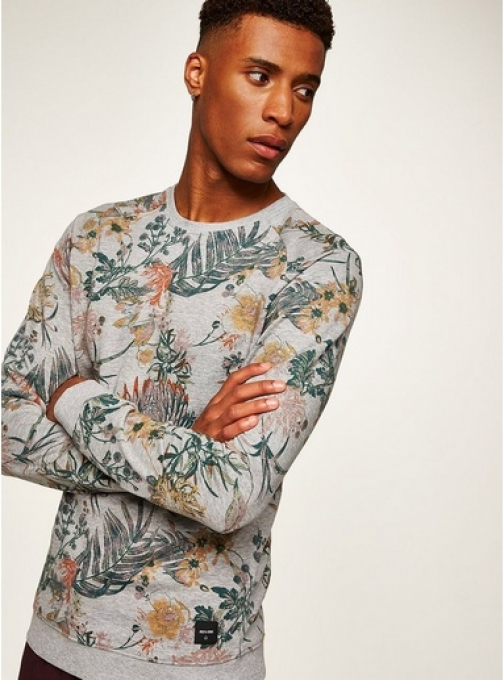 Only & Sons Mens ONLY & SONS Grey Floral , Grey Sweatshirt