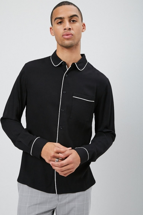 21 Men Piped Fitted At Forever 21 , Black/white Shirt