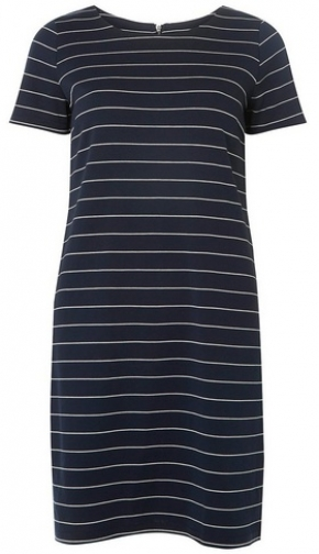 Dorothy Perkins Womens **Vila Navy And White Striped Zip Shift - Multi Colour, Multi Colour Dress