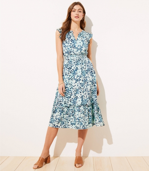 Loft Shimmer Floral Ruffle Sleeve Flare Dress