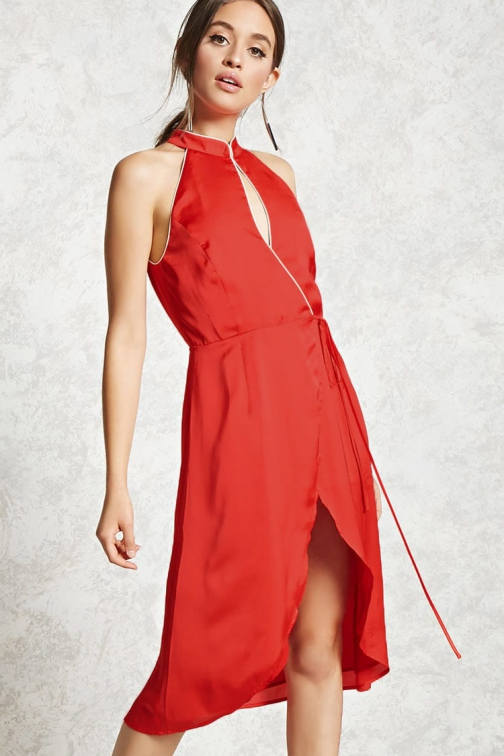 Forever21 Forever 21 Contemporary Satin Wrap Red/champagne Dress