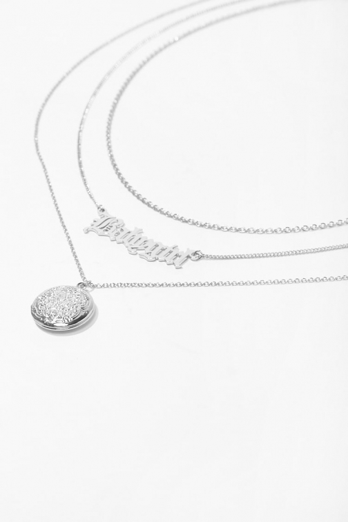Forever21 Forever 21 Locket Pendant Necklace Set , Silver Jewellery