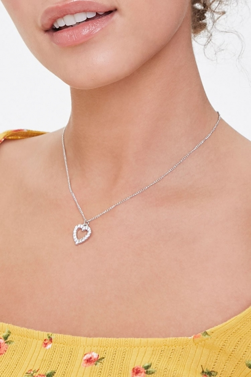 Forever21 Forever 21 Rhinestone Heart , Silver/clear Necklace