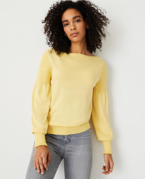 Ann Taylor Smocked Shoulder Sweater Sweatshirt