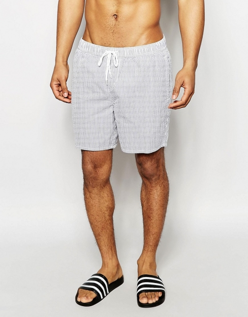 New Look Striped Blue And White Swim Short