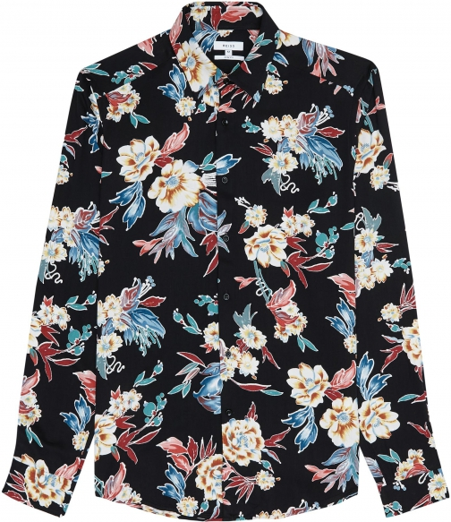 Reiss Vogal - Long Sleeved Floral Printed Black, Mens, Size S Shirt