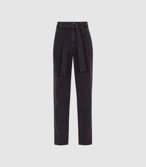 Reiss Flynn - High Rise Tapered Fit Dark Grey, Womens, Size 25 Jeans