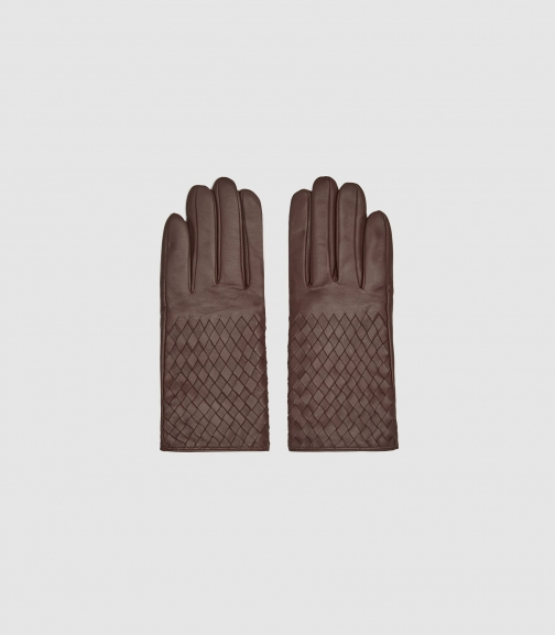 Reiss Joy - Leather Weave Detail Chocolate, Womens, Size L Glove