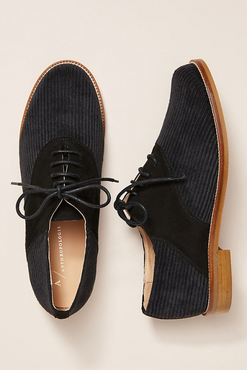 Anthropologie Corduroy Oxfords Shoes