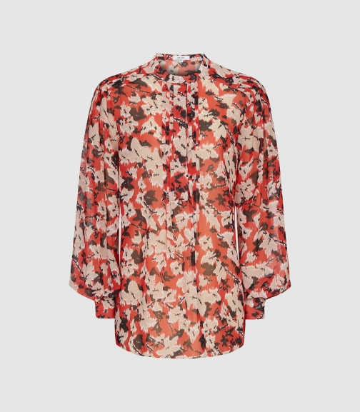 Reiss Provence - Floral Printed Red, Womens, Size 4 Blouse