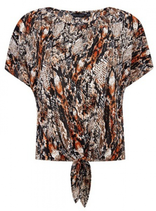 Dorothy Perkins Multi Colour Snake Print Tie Front Plisse Top