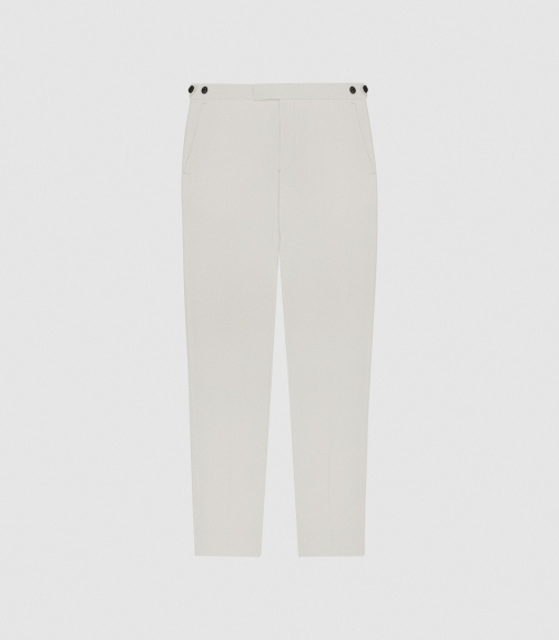 Reiss Casa - Wool Slim Fit Ivory, Mens, Size 28 Tailored Trouser