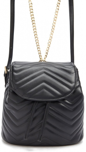 Forever21 Forever 21 Faux Leather Chevron Black Backpack