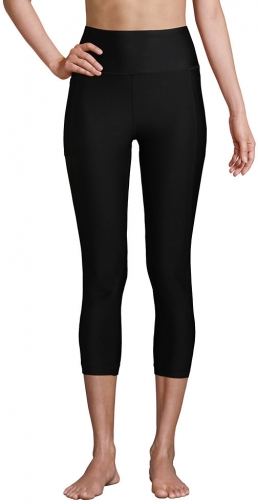 Lands' End Women's Chlorine Resistant High Waisted Modest Swim With UPF 50 Sun Protection - Lands' End - Black - XS Legging