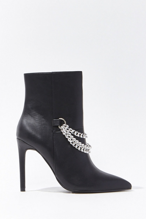 Forever21 Forever 21 Faux Leather Chain-Accent Booties , Black Boot