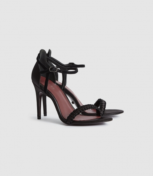 Reiss Linette - Woven Strappy Black, Womens, Size 5 Sandals