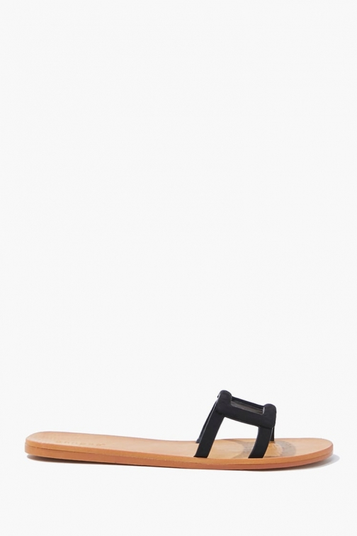 Forever21 Forever 21 Cutout , Black Flat Sandals