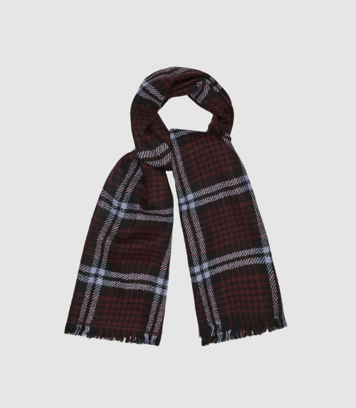 Reiss Jess - Houndstooth Checked Berry, Womens Scarf