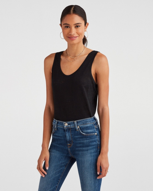 7 For All Mankind Women's Scoop Neck Tank Jet Black Tank Top