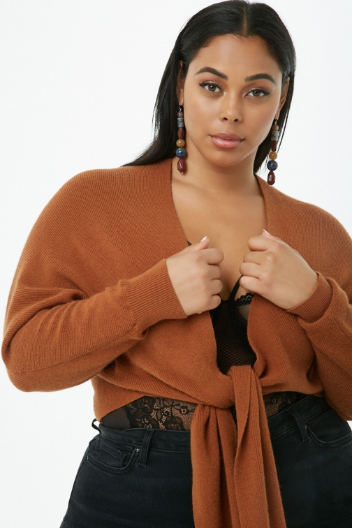 Forever21 Plus Forever 21 Plus Size Tie-Front Camel Cardigan