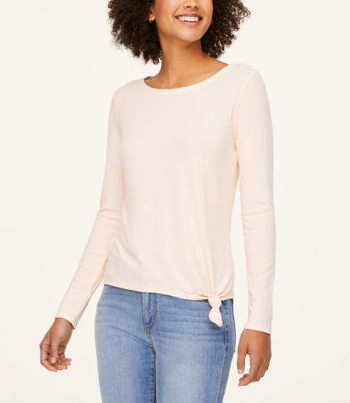 Loft Ribbed Knotted Tee T-Shirt