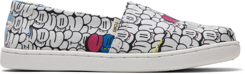 Toms White Bubble Print Youth Classics Slip-On Shoes