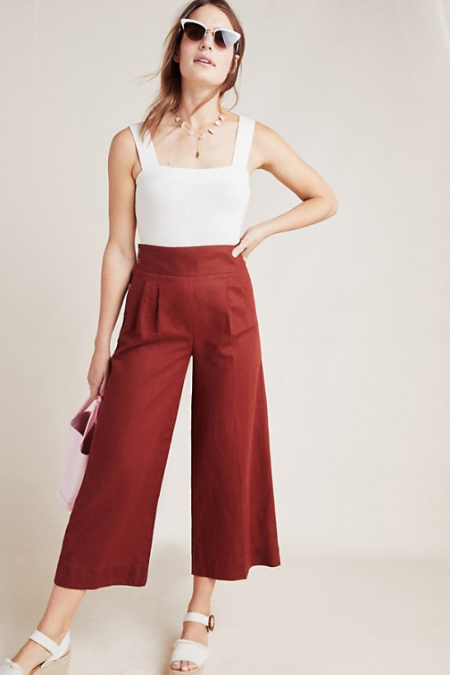 Anthropologie Angie Cropped Wide-Leg Trousers Wide Leg Trouser