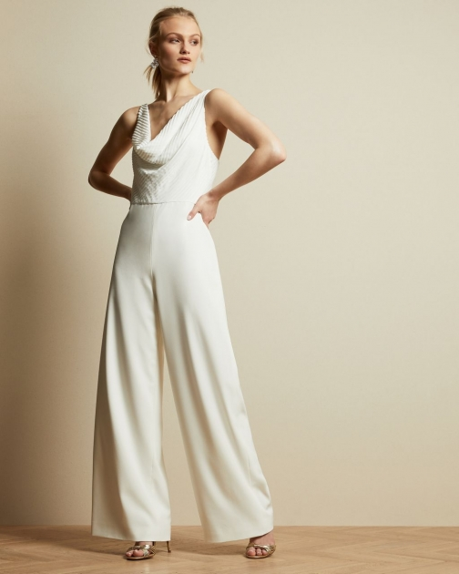 Ted Baker Cowl Neck Contrast Wide Leg Jumpsuit