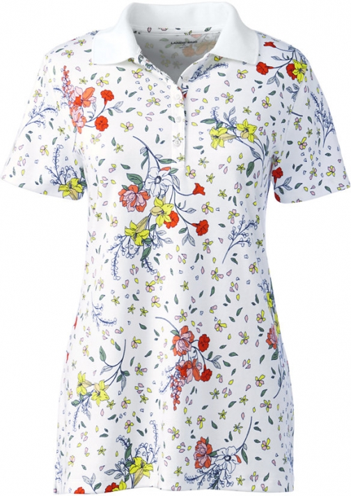 Lands' End Women's Supima Cotton Short Sleeve Shirt - Print - Lands' End - White - XS Polo