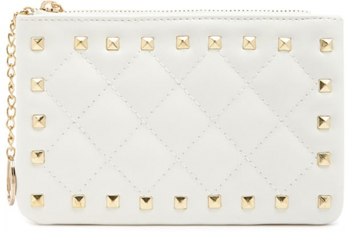 Forever21 Forever 21 Pyramid Studded Coin White Purse