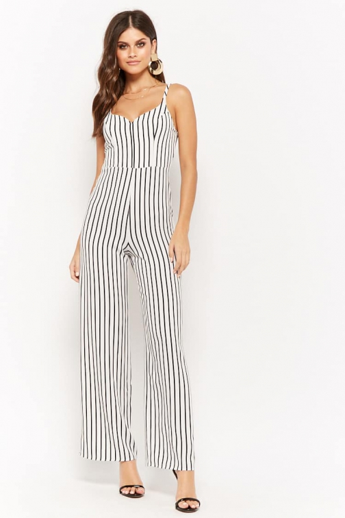 Forever21 Forever 21 Striped Palazzo Cami Ivory/black Jumpsuit