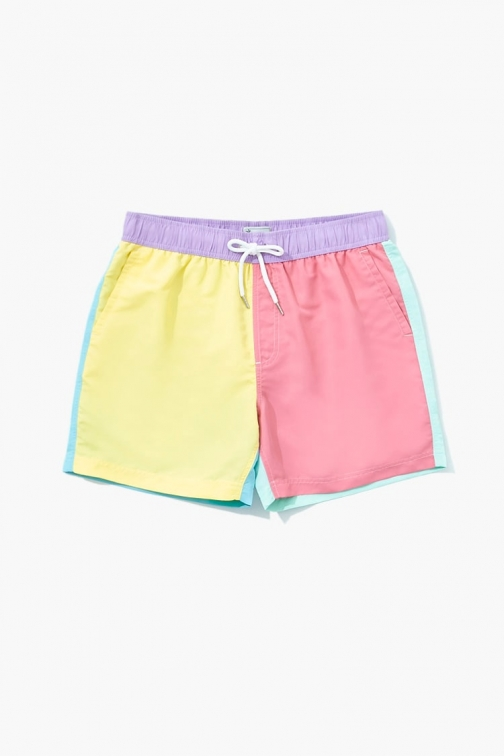 21 Men Colorblock At Forever 21 , Pink/yellow Swim Trunk