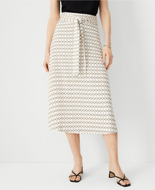 Ann Taylor Chain Print Knotted A-Line Skirt