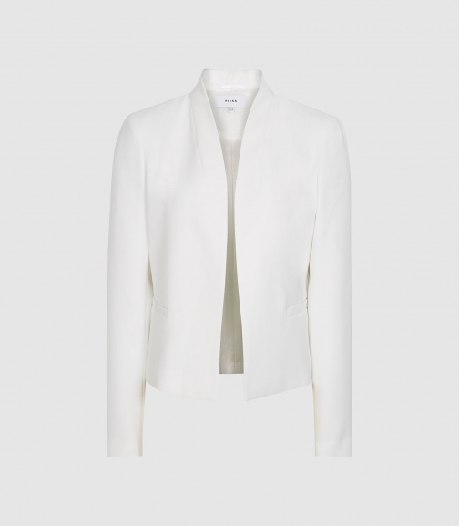 Reiss Tansey - Cropped Collarless White, Womens, Size 10 Blazer