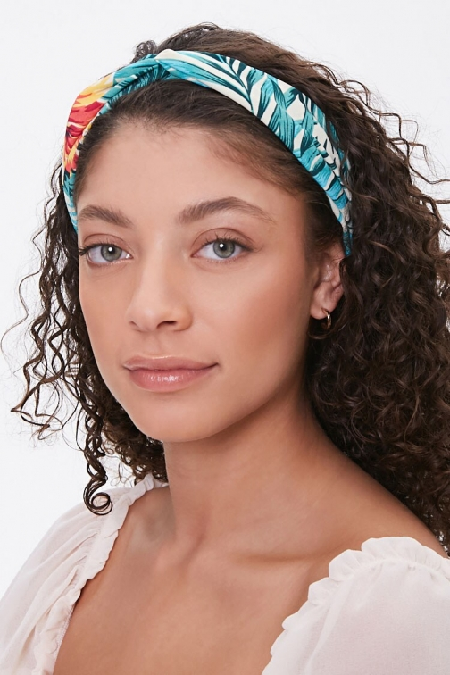 Forever21 Forever 21 Tropical Twist-Front Headwrap , Green/multi Headwear
