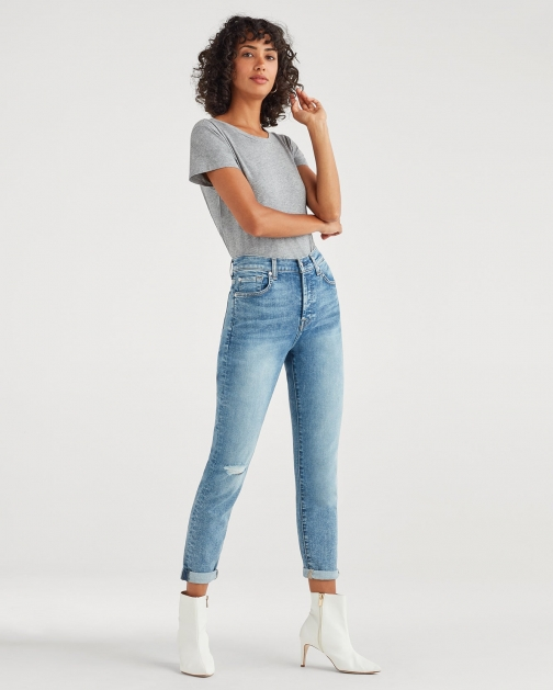 7 For All Mankind Women's High Waisted Josefina With Busted Knee Nolita Trouser