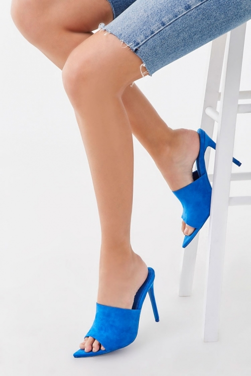 Forever21 Forever 21 Faux Suede Open-Toe Stiletto Heels , Blue Shoes