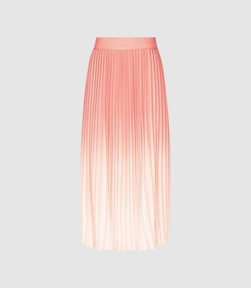 Reiss Mila - Ombre Pleated Peach, Womens, Size 4 Midi Skirt