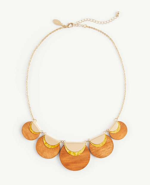 Ann Taylor Wood Statement Necklace