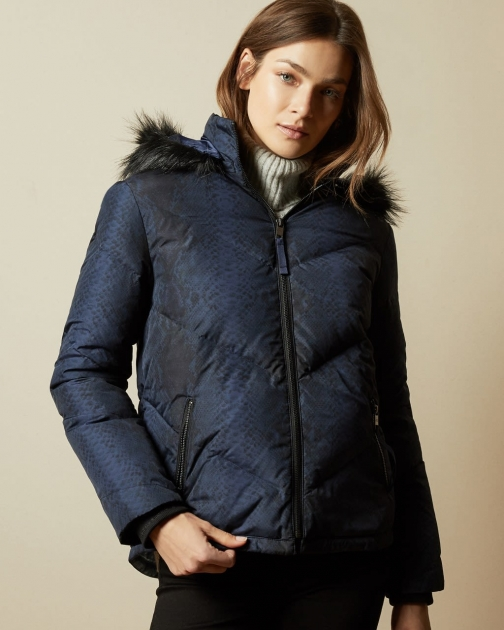 Ted Baker Quilted Snake Print Padded Jacket