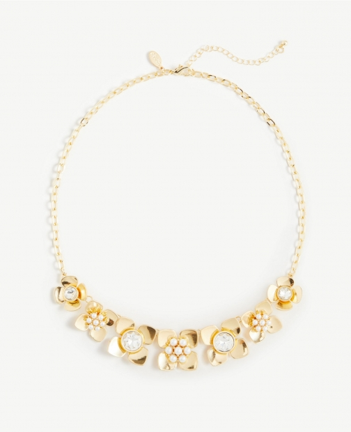 Ann Taylor Pearlized Floral Stone Statement Necklace