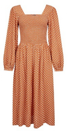 Dorothy Perkins Ginger Spotted Long Sleeve Fit And Flare Dress