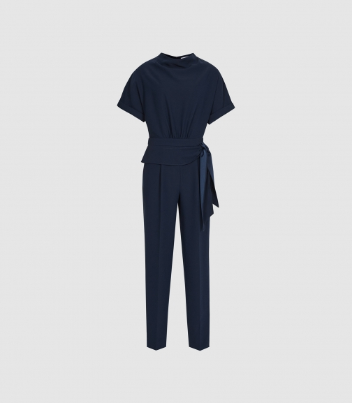 Reiss Silva - Short Sleeved Navy, Womens, Size 4 Jumpsuit