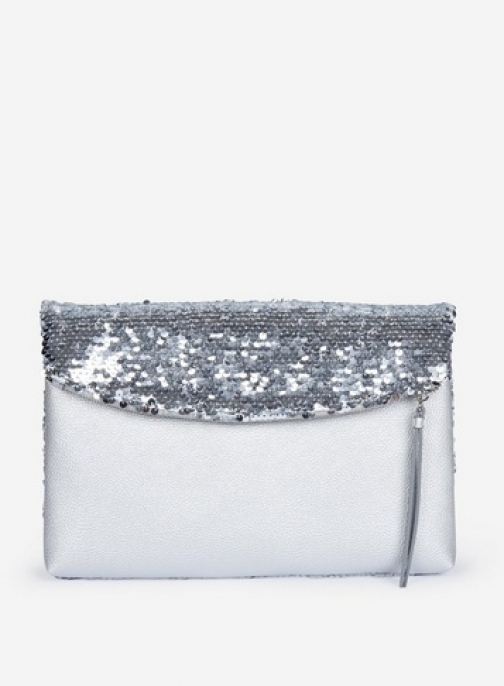 Dorothy Perkins Silver Sequin Foldover Bag Clutch