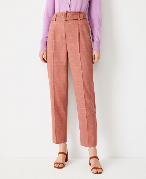 Ann Taylor The Belted Tapered Pant Crosshatch Trouser